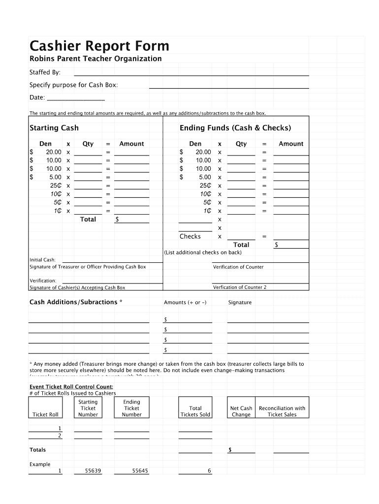 Cashier Report Fill Online Printable Fillable Blank Pdffiller