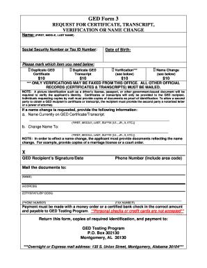 Fillable Online dpe GED Form 3(duplicate/verification request) Fax ...