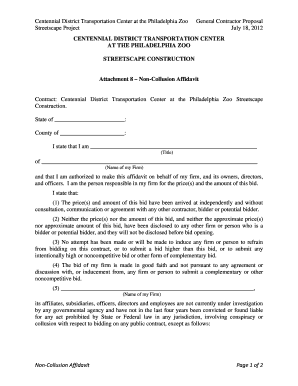 Attachment 08 - Non-Collusion Affidavit - Remington RFP Site