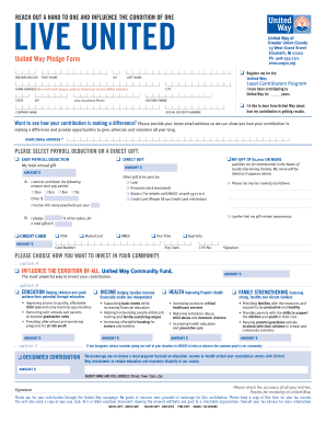 Fillable Online United Way Pledge Form - United Way of Greater ...