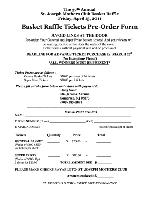 Basket Raffle Tickets Pre-Order Form