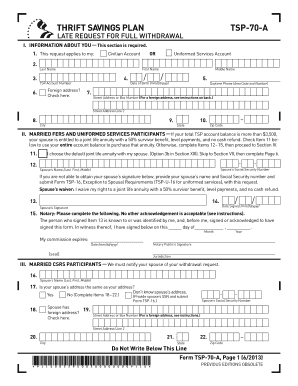 Fillable Online Form TSP-70-A, Late Request for Full Withdrawal ...
