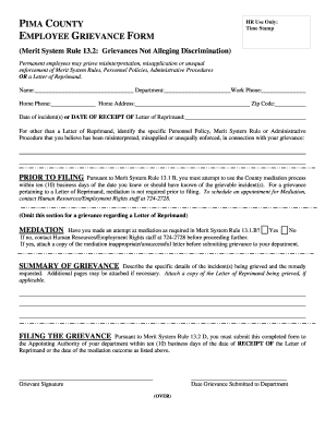 PIMA COUNTY EMPLOYEE GRIEVANCE FORM