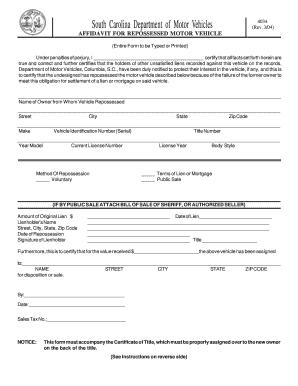 Order Of Repossession Form South Carolina Affidavit - Fill Online ...