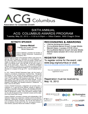 Sixth annual acg columbus awards program - Association for ...