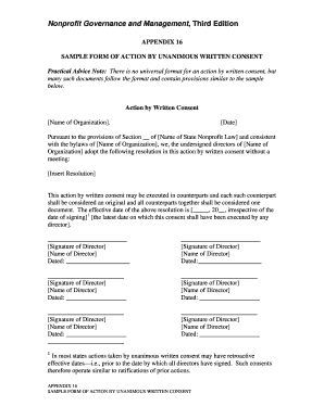 Fillable Online Form Of Action By Unanimous Written Consent Nonprofit Fax Email Print Pdffiller