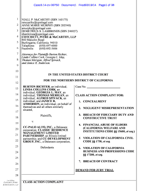 Fillable Online Case5:14-cv-00750 Document1 Filed02/19/14