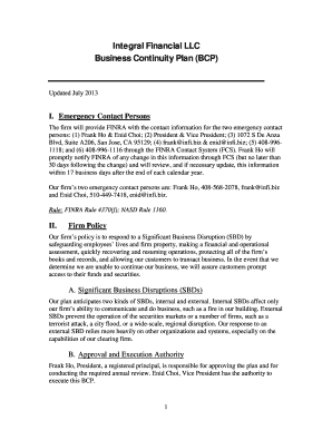 Business Continuity Plan Template for - Infibiz - infi