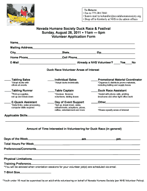 Fillable Online nevadahumanesociety 5pm Volunteer Application Form ...