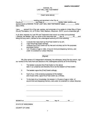 SAMPLE DOCUMENT CODICIL TO LAST WILL AND TESTAMENT OF