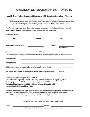 Fillable Online Tafa senior graduation application form - Travis ...