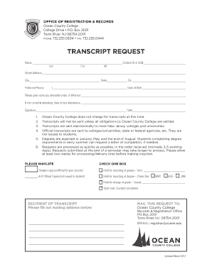 official transcript template - college transcript request form template fillable