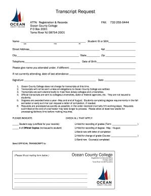 ocean county college transcript Ocean County College Transcript - Fill Online, Printable, Fillable ...