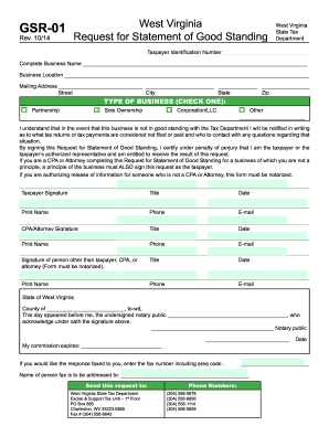 West Virginia State Tax Department Form Gsr 01 - Fill Online ...