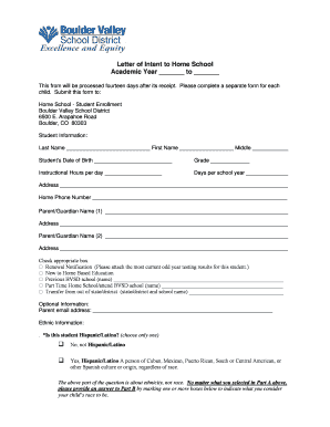 letter of intent for school enrollment Forms and Templates