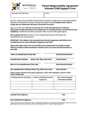 Parent Responsibility Agreement Informal Child Support ... - FatCow