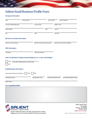 Salient Small Business Profile Form - Salient Federal Solutions