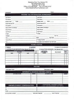 Fillable online income tax information worksheet madeline ruiz tax rate this form ibookread ePUb