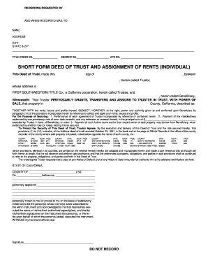 SHORT FORM DEED OF TRUST AND ASSIGNMENT OF RENTS (INDIVIDUAL)
