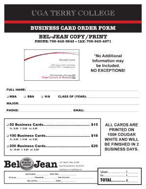 Fillable Online terry uga Business Card Order Form - Terry College on business card contact, business card delivery, business card fabric, business card menu, business card description, business card map, business card patterns, business card press, business card services, business card information, gift card order form, business card disclaimer, business card books, business card company, business card home, greeting card order form, business card awards, business thank you note cards, business card sa, business card wording,