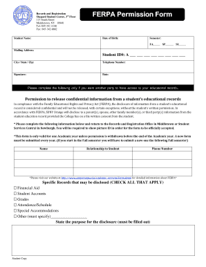 Fillable Online sunyorange FERPA Consent Form PDF - SUNY Orange ...