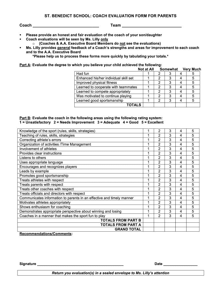 coaching evaluation form