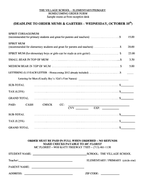 homecoming mum order form  Homecoming Mum Order Form - Fill Online, Printable, Fillable ...