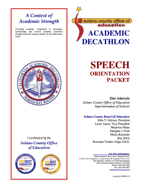Speech Volunteer Orientation Packet - Solano County Office of bb