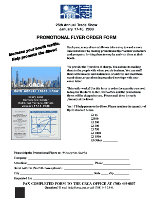 Fillable Online crca Promo flyer form - CRCA Chicago Roofing