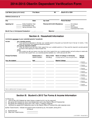 Oberlin Dependent Verification Form - Fill Online, Printable ...