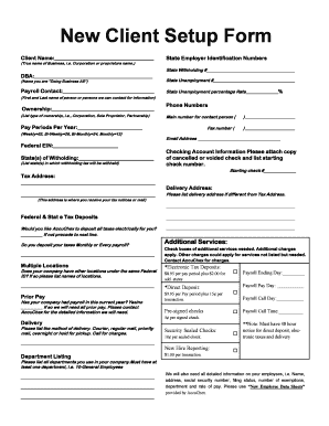 Fillable Online New Client Setup Form Fax Email Print