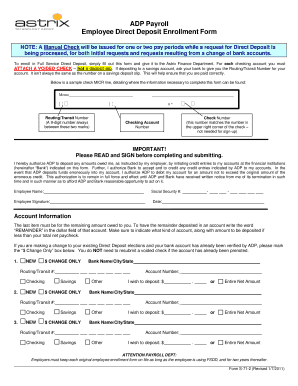 Adp direct deposit form fillable Fill Online, Printable, Fillable ...