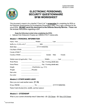 Worksheet Sf 86 Worksheet 2005 2017 form epsq sf86 fill online printable fillable blank online
