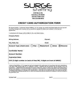 Fillable Online Credit Card Recurring Payment Authorization Form ... Fill Online