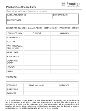 Fillable Online Position/Rate Change Form - Prestige Employee ...