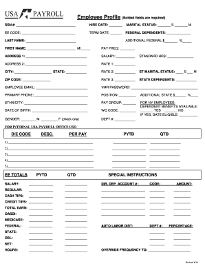 employee medical profile form