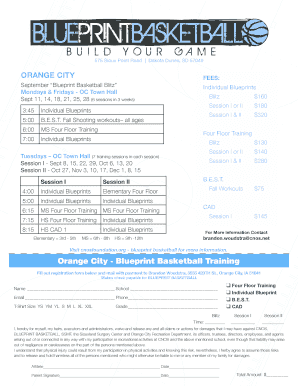 Fillable Online ORANGE CITY FEEs - Blueprint Basketball Fax
