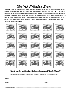 image regarding Printable Box Top Collection Sheets titled Fillable On-line Box Ultimate Selection Sheet - Fax