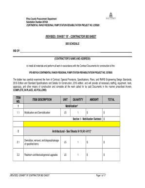 fillable online revised exhibit b contractor bid sheet item no