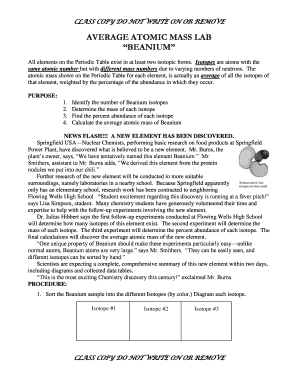 Fillable Online Average Atomic Mass Lab Beanium Wikispaces Fax Email Print Pdffiller