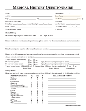 fillable online medical history questionnaire alan optical fax
