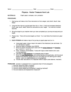 Fillable Online Physics - Vector Treasure Hunt Lab Fax Email Print