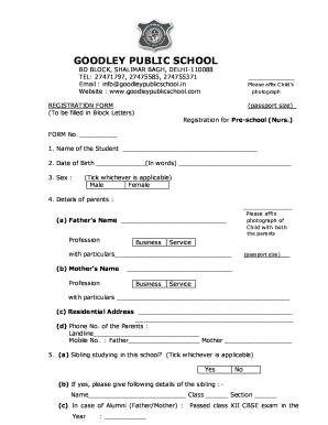 Fillable Online GOODLEY PUBLIC SCHOOL BD BLOCK, SHALIMAR