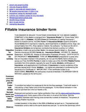 Printable insurance binder form Forms and Document ...