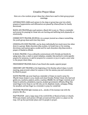 prayer journal ideas for youth - Fillable & Printable Online