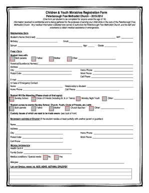 Children Youth Ministries Registration Form Peterborough