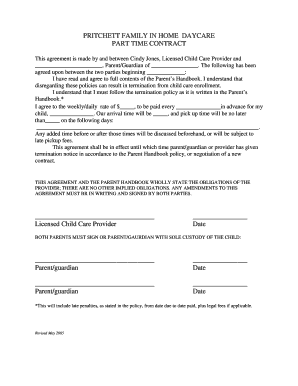 Fillable Online THIS AGREEMENT AND THE PARENT HANDBOOK