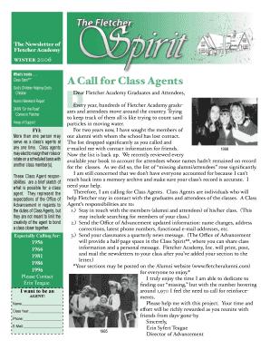 Fillable Online A Call for Class Agents - Fletcher Alumni