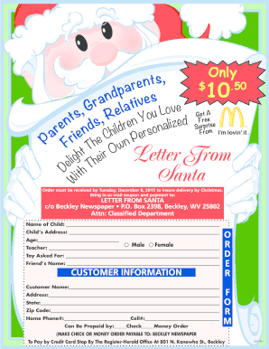 free mailed letter from santa   Edit, Print, Fill Out & Download