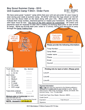 Custom T Shirt Order Form Templates Fillable Printable Samples